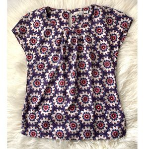 Boden Silk Viscose Floral Sleeveless Pleated  Top